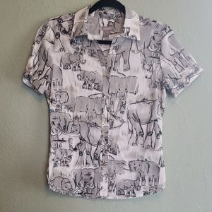 Chico's Size 0 Elephant Button Up Shirt